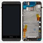 Дисплей для мобильного телефона HTC One M7 801e, черный, с сенсорным экраном, с передней панелью, Original (PRC)
