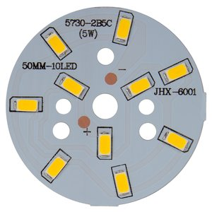 Плата со светодиодами 5 Вт (теплый белый, 600 лм, 50 мм)
