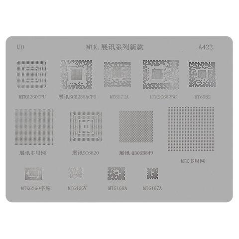 BGA трафарет A422 для мобільного телефону China phone universal, MT6572A, SC6825C, MT6582, MT6166, 13 in 1