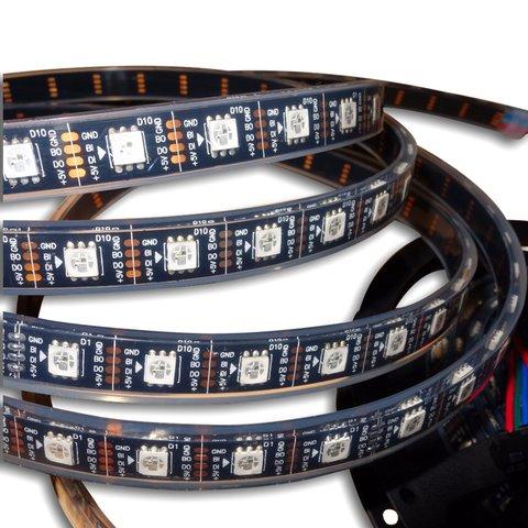 Світлодіодна стрічка RGB SMD5050, WS2813 чорна, з управлінням, IP67, 5 В, 60 діодів м, 1 м